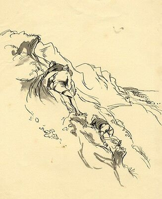 Louis Valentine, Boys Climbing a Cliff - Mid-20th-century pen & ink drawing