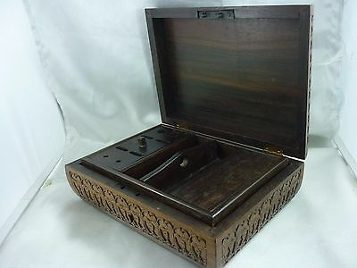 Exquisite ~  Vintage Ornately Hand Carved  Wooden Writing Box