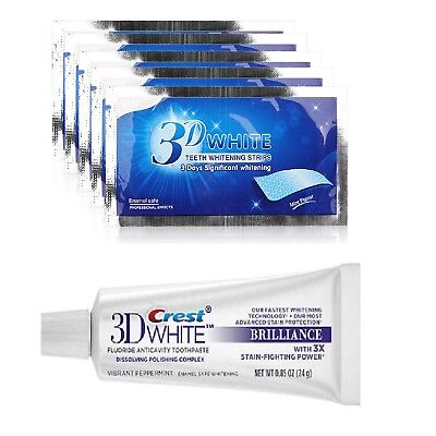 Brilliance Crest3D Teeth Whitening Toothpaste 28 White Strips 25 Floss Stick Set