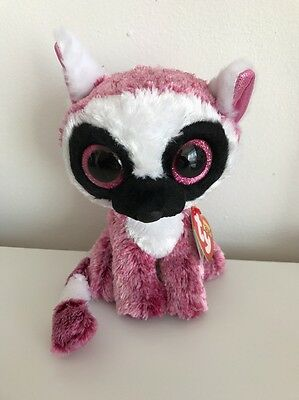 New Rare Not Released Ty Beanie Boo Boos Leeann Lemur Pink Soft Plush Toy