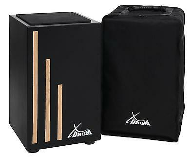Cajon Batterie a Main Instrument de Percussion Tambour du Monde Housse Set Noir