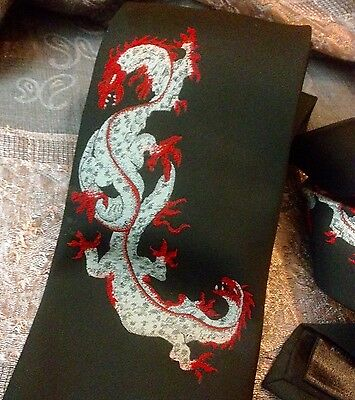 Vintage 1980s Oriental Dragon Tie Black With Silk Embroidery By Modern Classics