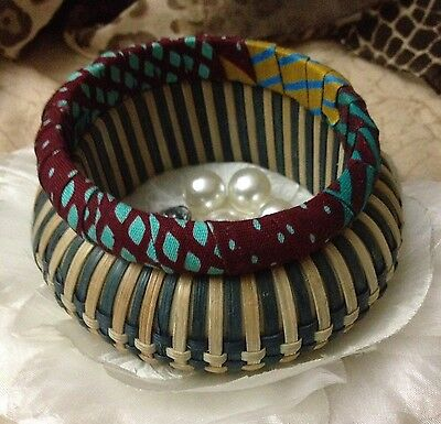 Vintage Bangles Chunky Woven Straw & Slim Pleated Fabric 1970s Great Condition