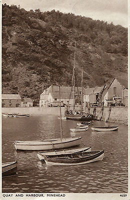 1946 Postcard Quay and Harbour MINEHEAD Somerset