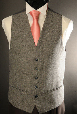 Wt-3 Mens/boys Grey Tweed Waistcoat Casual / Wedding / Formal /country /