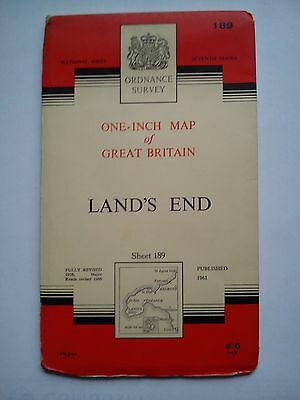 One-Inch 7th Series Ordnance Survey Map Sheet 189 Land's End