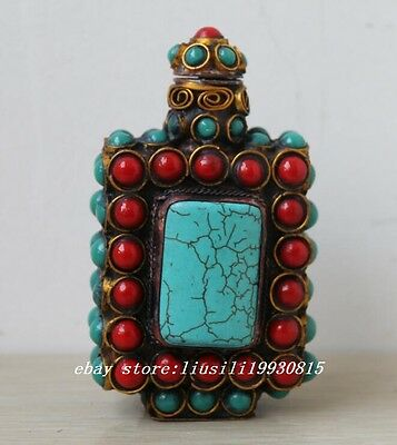 Chinese Turquoise Coral Superb Handwork Old Inlay Noble Snuff Bottle Decor