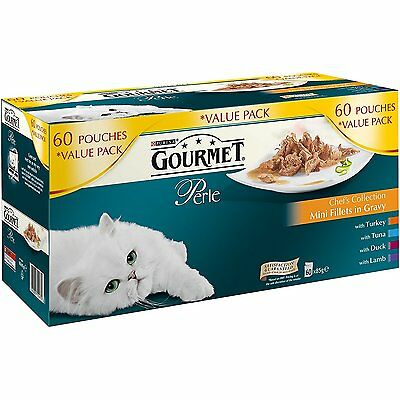 Purina Gourmet Perle Wet Cat Food Mini Fillets in Gravy Chef's Collection 6 New
