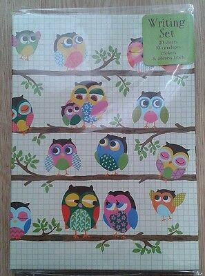 Paperchase Cute Owl Writing Set Paper Envelopes Stickers Note Letter Stationary