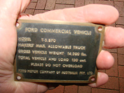 Vintage Ford Motor Company Truck Brass Id Plate