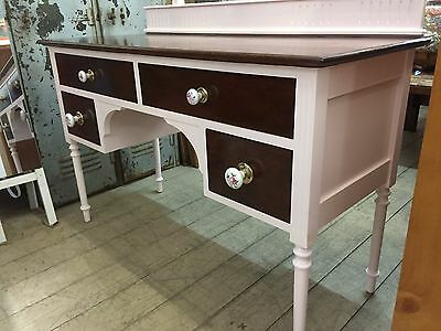 Painted Timber Dressing Table Dresser Mirror Drawers Oak Pale Pink