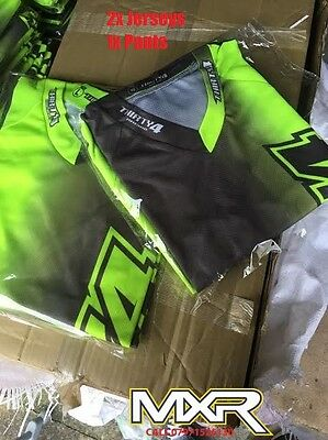 Thirty4 Racing Flo Yellow / Grey 2017 Motocross Kit Mx Youth Jersey And Pants