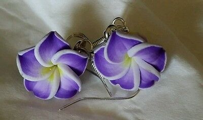925 Sterling Silver Hooks Drop Dangle Earrings Fimo Clay Flower Beads