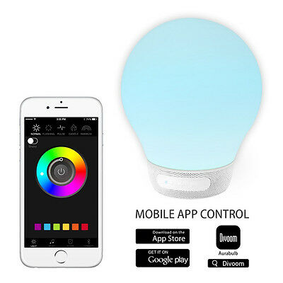 DIVOOM AURABULB Smart App Control Colorful Wireless Bluetooth 4.0 Speaker Lamp