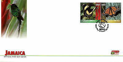 Jamaica 2016 FDC Butterflies Dipl Rel Mexico 2v Cover Monarch Butterfly Stamps