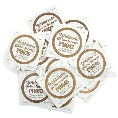 D'Addario Single Acoustic Guitar Strings String Phosphor Bronze - Gauges 22-56