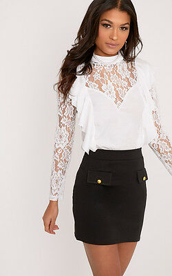 PrettyLittleThing Womens Becki White Ruffle Lace Sleeve High Neck Blouse Top