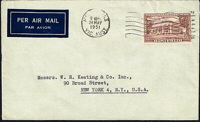 024 Australia To Us Air Mail Cover 1951 Melbourne - New York