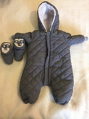 Zara Grey Quilted Fleecy Lined Pram / Snow Suit 0-3 Months