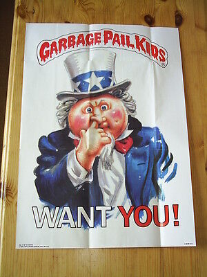 "Topps Garbage Pail Kids Poster ""want You"" No. 17 Issued 1986"
