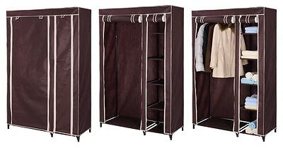 Portable Nave or Brown Double Wardrobe Cupboard Hanging Clothes Rail Storage Org