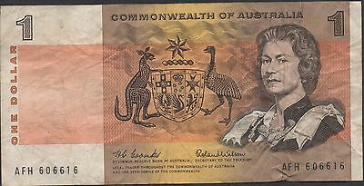Commonwealth of Australia $1  ND. 1960's  P 37a Prefix  AFH Circulated Banknote
