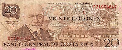 Costa Rica  20 Colones 18.5.1982  Series C circulated Banknote NS2R