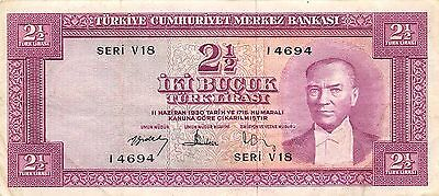 Turkey  2 1/2 Lira  ND. 15.7.1952  P 150a  Series V 18  Circulated Banknote MX8F