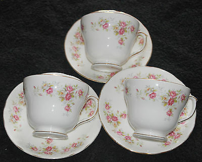 """DUCHESS  Pink & White Roses """" JUNE BOUQUET """"  SET OF 3 BREAKFAST CUPS AND SAUCER"""