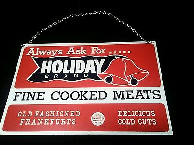 Vintage 1970s Holiday Brand Metal Sign Advertising Lynn MA Country Store Deli