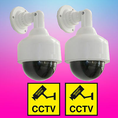 2 Dummy Fake Speed Dome Security Camera LED W Flashing Red Light CCTV Waterproof