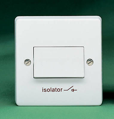 Crabtree Fan Isolator Switch 4017 Triple Pole 6A Marked with 'ISOLATOR' Symbol