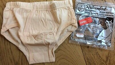 "Vintage Mens Nude 32"" Briefs Cotton Closed Low Waist Underpants Ribconfort 70's"