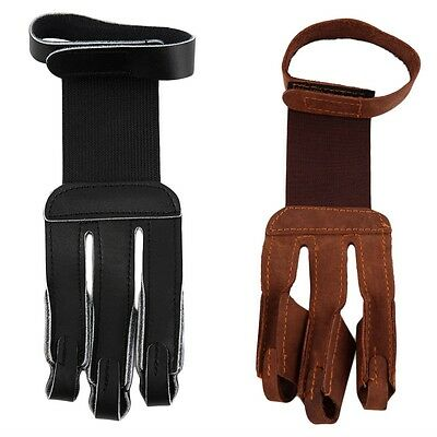 Archery Protect Glove 3 Fingers Pull Bow arrow Leather Shooting Gloves BY