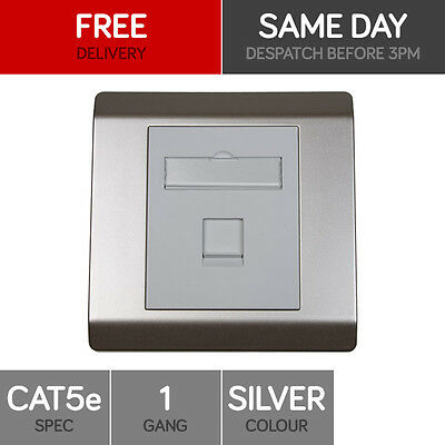 RJ45 Face Plate Wall Socket Cat5e Ethernet Single Wall Outlet 1 Port SILVER