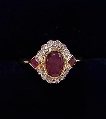 Vintage Ruby and Diamond Cluster Ring in 15ct Yellow Gold- Size O