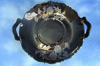 Vintage L.E. Smith Black Amethyst Painted Curved Platter