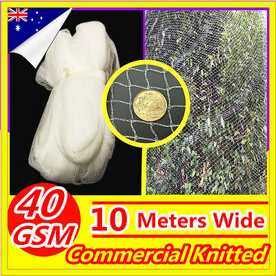 WHITE 10M Wide Anti Bird Netting Mesh Commercial Knitted Plant Fruit Pest Net