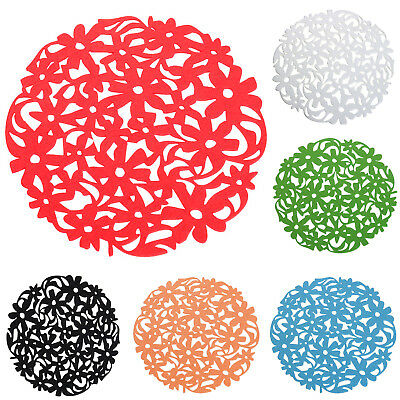 Round Laser Cut Flower Felt Placemats Kitchen Dinner Table Cup Mats Cushion F4U2