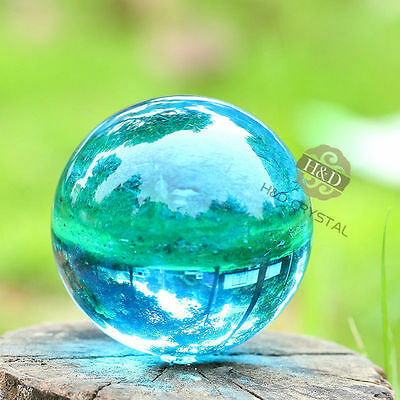 40mm Asian Rare Natural Quartz Sea Blue Magic Crystal Healing Ball Sphere +Stand