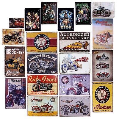 Retro Indian Motorcycle Vintage Metal Tin Signs Home Pub Bar Wall Decor Poster