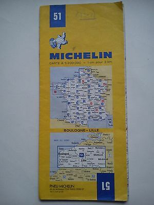 Vintage 1977 1:200,000 Michelin Map of France No.51 Boulogne - Lille