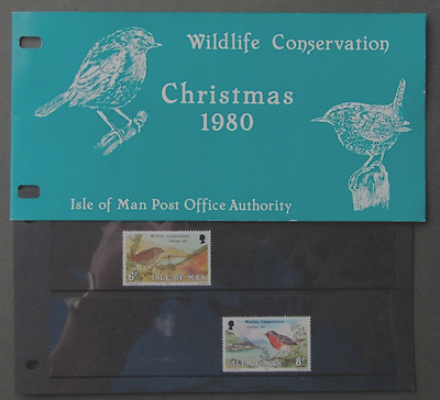 Isle of Man Presentation Pack 1980 Christmas Wildlife Conservation Wren Robin