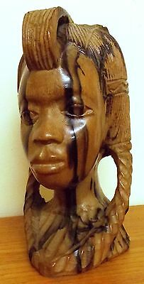 African Tribal Art Female Head Hand Carved in Exotic Hardwood 20cm High