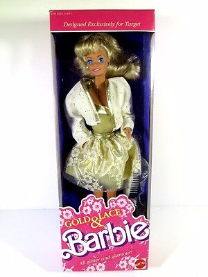 Nib Barbie Doll 1989 Gold & And Lace