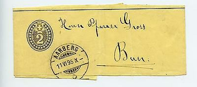 Switzerland stationery newspaper wrapper S13 used 1895 Aarberg (L494)