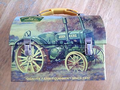 "John Deere Mini Tin Lunch Box, measures approx: 7 1/4"" x 6"" x 3 3/4"""