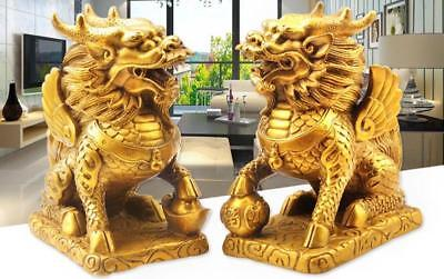 2* Feng Shui Blessed Kirin Kylin Brass Statue Bring Good Lucky Increase Wealth