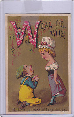 Victorian Trade Card S.d. Sollers & Co's Fine Shoes Letter W Man And Woman