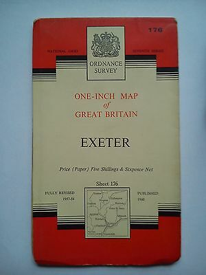 One-Inch 7th Series Ordnance Survey Map Sheet 176 Exeter